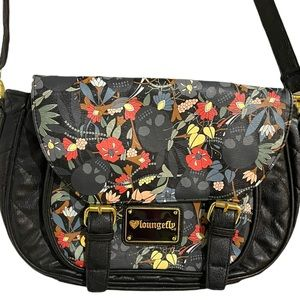 LOUNGEFLY Floral Skull Crossbodh Satchel Style Faux Quilted Leather Purse